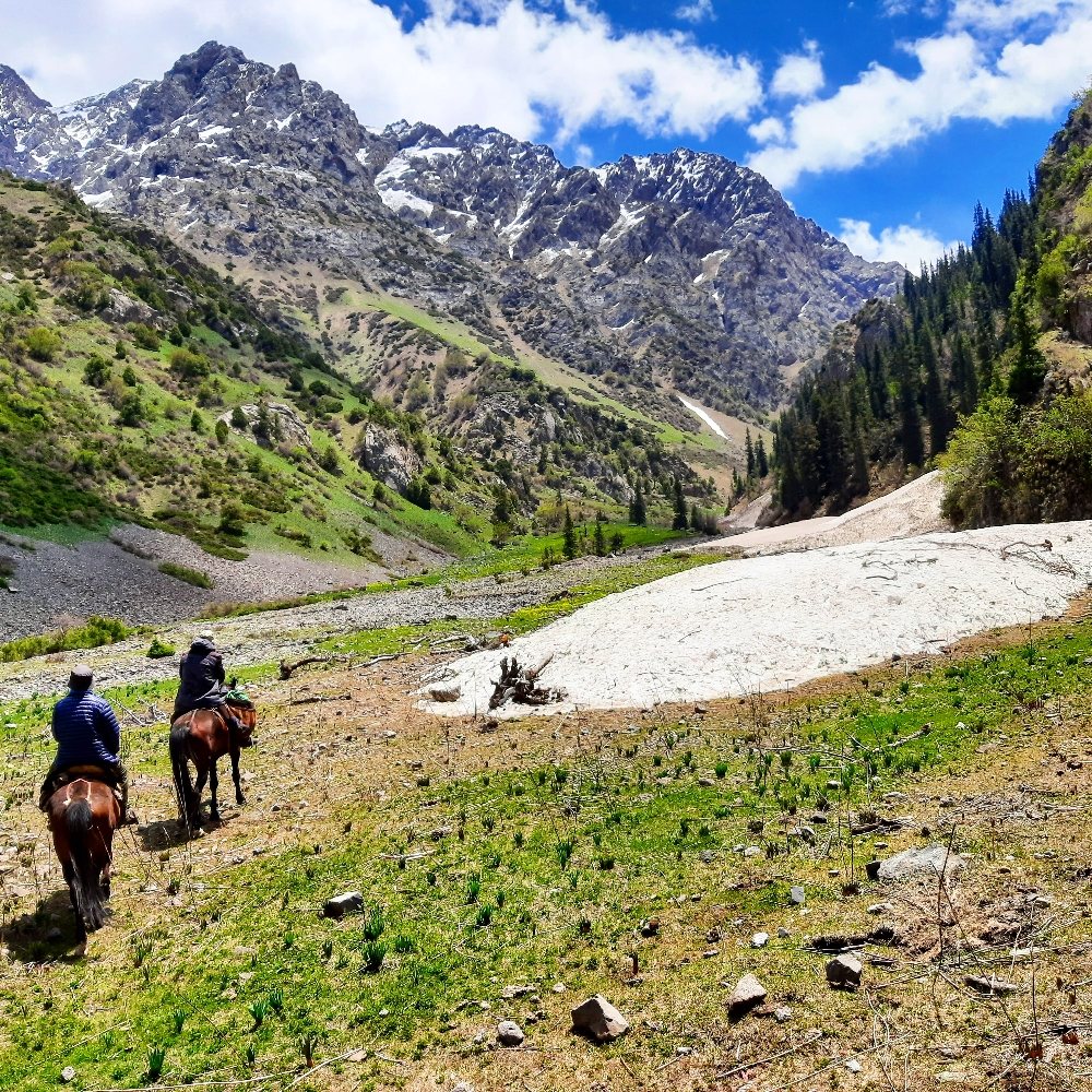 Real horse riding in Southern Kyrgyzstan. Approaching the show covered paths