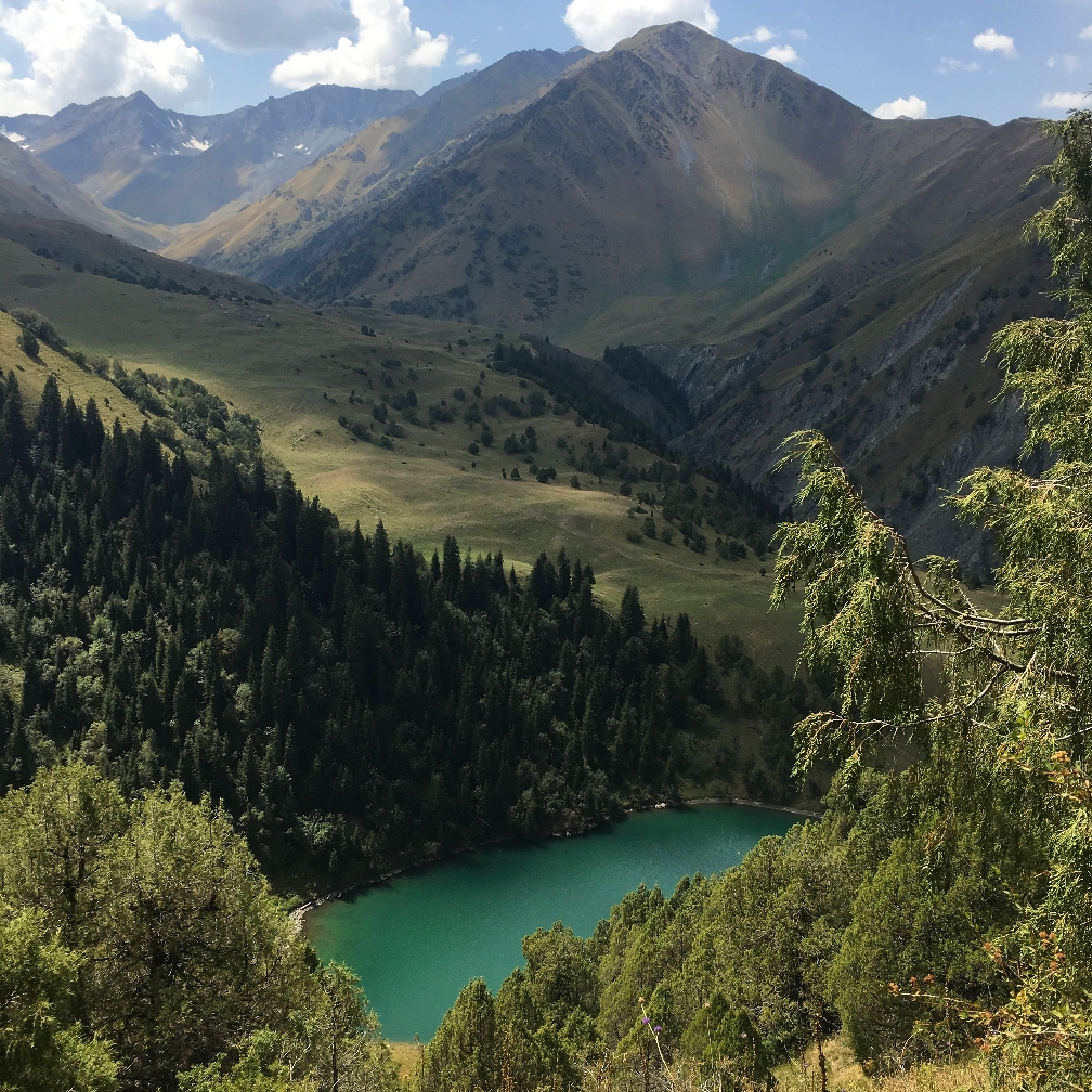 The forested lakes in the South of the Kyrgyzstan