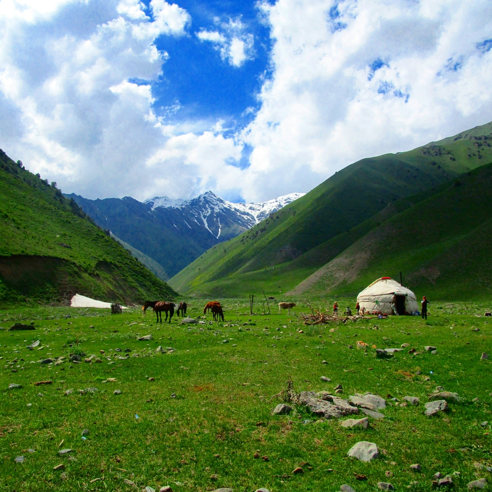 Kichi-Jailoo --small summer pasture with the Boz-Üiy - Kyrgyz Nomad house. Small world of Kyrgyz Nomads stayed unchanged for thousands of years