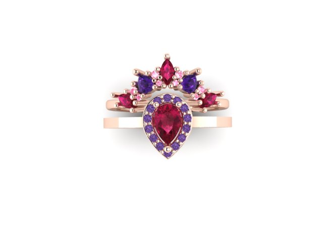 Emma Hedley Jewellery Baroque Radiance ruby pink and purple sapphire pear engagement ring with elaborate shaped wedding ring marquise and pear fairtrade rose gold