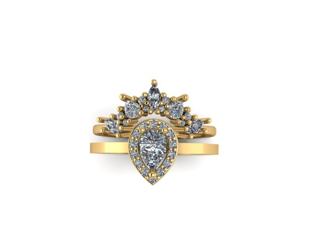 Emma Hedley Jewellery Baroque Radiance wedding and engagement ring set fairtrade 18ct yellow gold diamond pear shaped