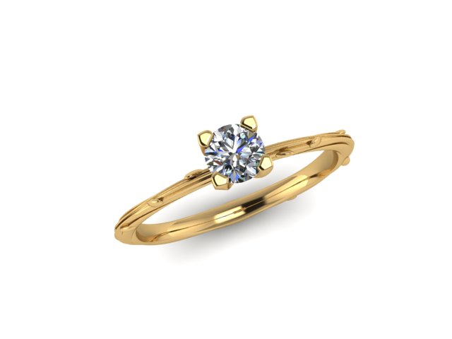 18 ct Fairtrade yellow gold 4 claw organic dew drop engagement ring Emma Hedley Jewellery