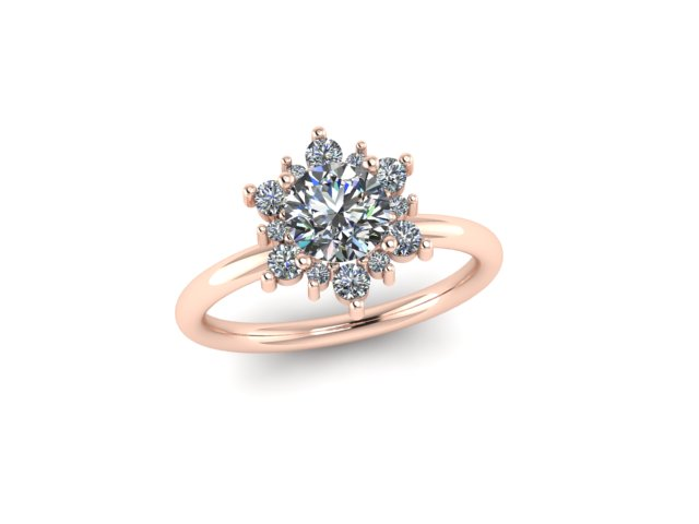 make a wish diamond halo 18 ct Fairtrade rose gold engagement ring Emma Hedley Jewellery