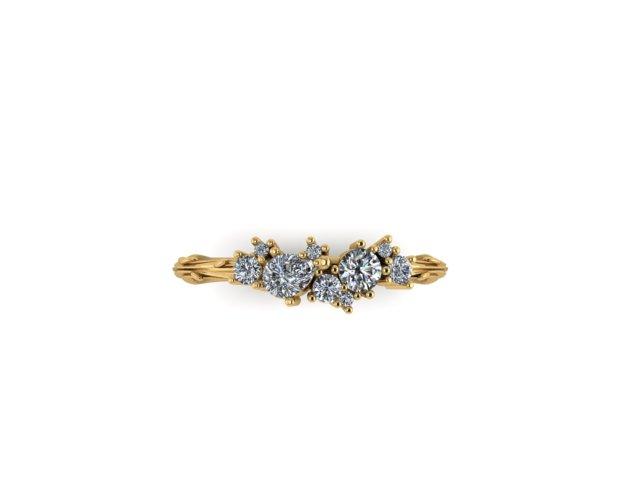 organic constellation diamond cluster 18ct Fairtrade yellow gold Emma Hedley Jewellery