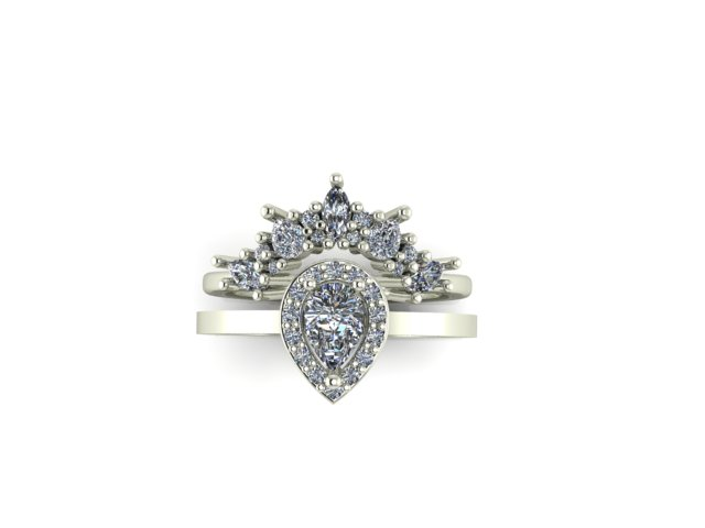 Emma Hedley Jewellery Baroque Radiance diamond ring set with shaped diamond wedding band and pear shaped diamond engagement ring fairtrade white gold
