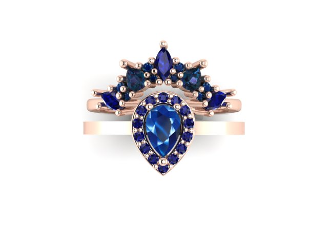 Emma Hedley Jewellery Baroque Radiance blue sapphire pear engagement ring with elaborate shaped wedding ring marquise and pear fairtrade gold