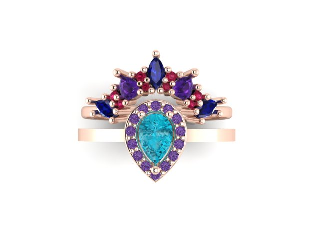 Emma Hedley Jewellery Baroque Radiance Ring Set in Shades of purple wedding and engagement ring 18ct fairtrade gold