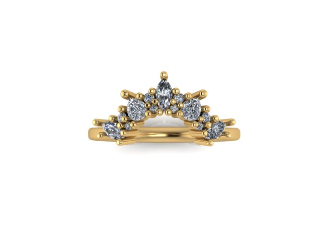 Emma Hedley Jewellery Fairtrade 18ct yellow gold shaped diamond wedding ring