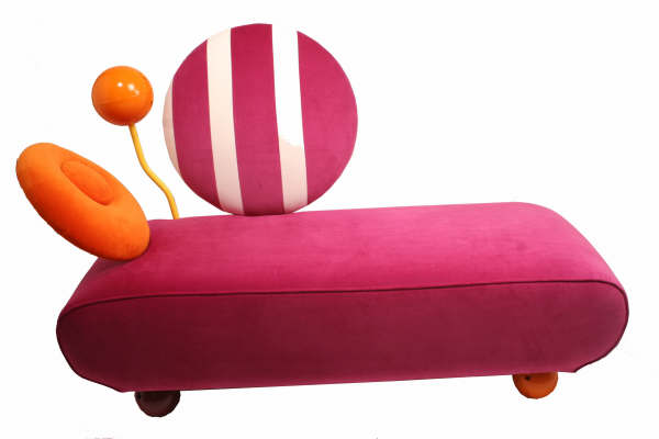 Chaise By Me handmade in 2007 by Emma Hedley for her final degree show, inspired by the Memphis Design Movement