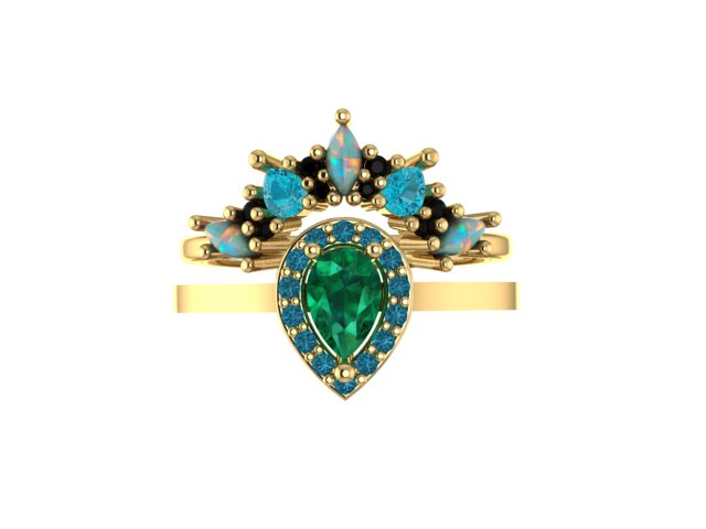 Emma Hedley Jewellery Baroque Radiance Ring Set in Shades of Blue and Green wedding and engagement ring 18ct fairtrade gold