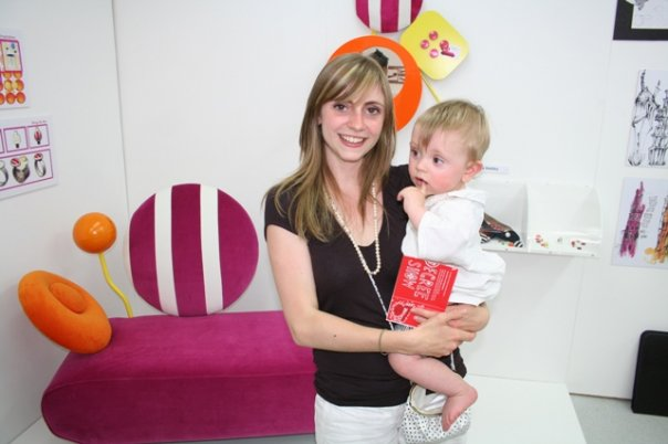 Emma Hedley at her final degree show with baby celebrating completing the course together 2007 pink Memphis inspired Chaise Longue chaise by me