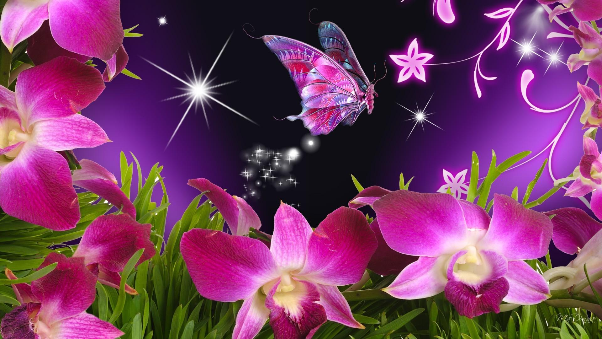 Бабочка на цветах загрузить