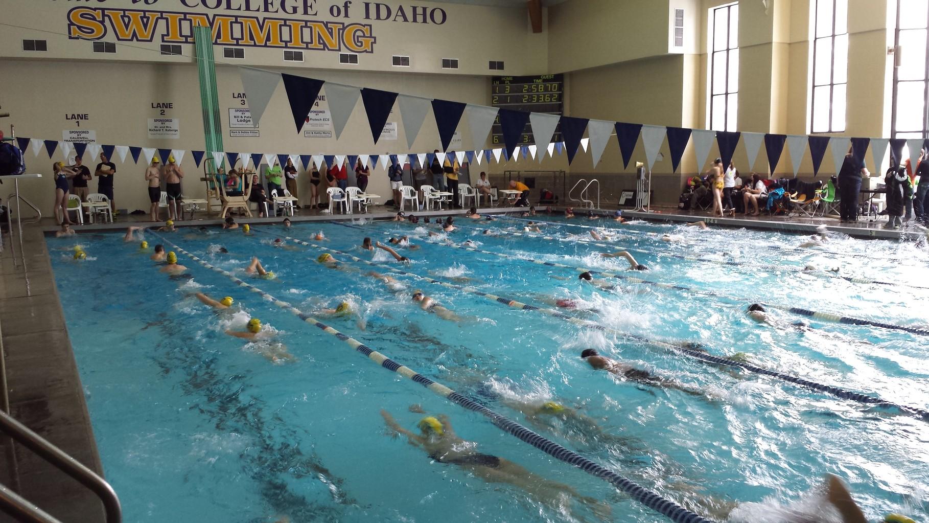 Warm ups at the swim meet at College of Idaho February 8-9.