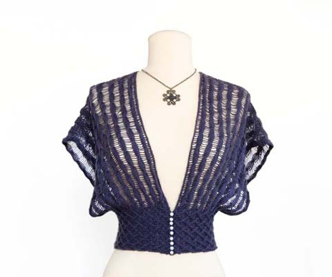 DROP STITCH SHRUG- Designed by Jill Wright