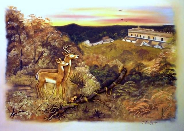 """""""Venados en Kabah"""" 50 x 70 cm."""