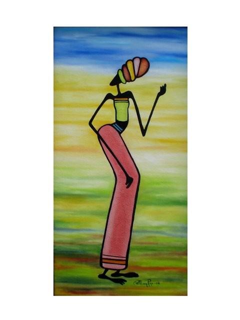 """Mujer Africana2, 2006"" 30 x 70 cm (Estilo Gakonga)"