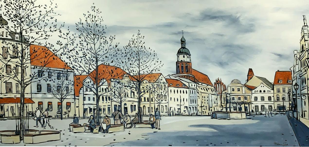 """""""Blick auf den Altmarkt"""" 2019. 120 x 60 cm"""