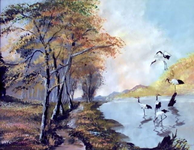 """""""Grullas,1999"""" 50 x 60 cm."""