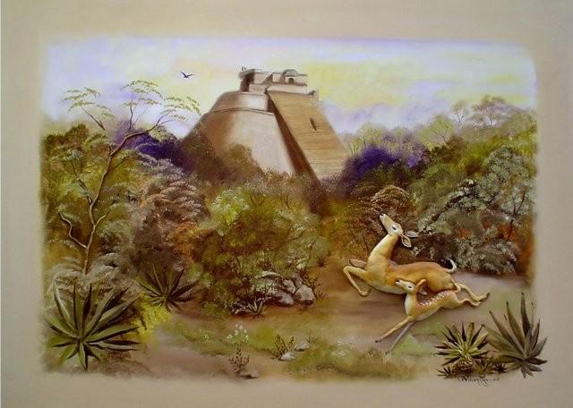 """""""Venados en Uxmal, 2005"""" 50 x 70 cm."""