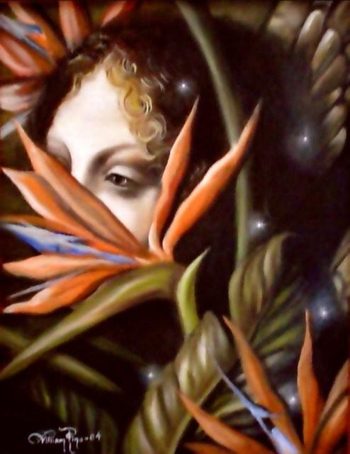 """""""Entre Aves, 2005"""" 25 x 35 cm. (Estudio del ángel Uriel de la Virgen de las Rocas, Leonardo D.V.)"""