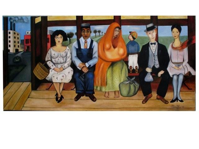 """""""El autobús, Réplica de Frida Kahlo, 2006"""" 40 x 90 cm."""