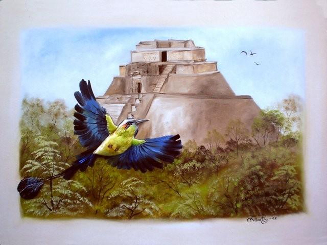 """""""Pájaro Toh en Uxmal, 2005"""" 50 x 70 cm."""