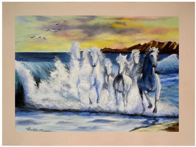 """Caballos Marinos, 2006"" 50 x 70 cm."