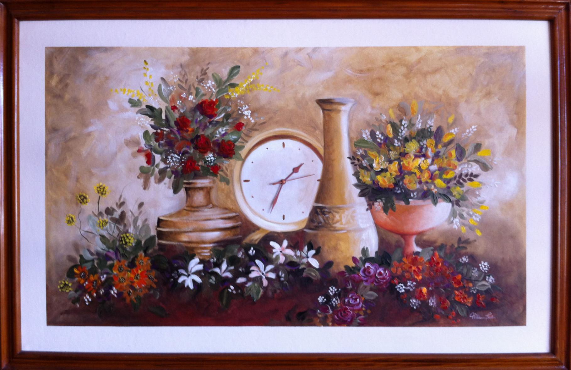"""""""Naturaleza Muerta con Reloj, 2013"""" 120 x 70cm."""