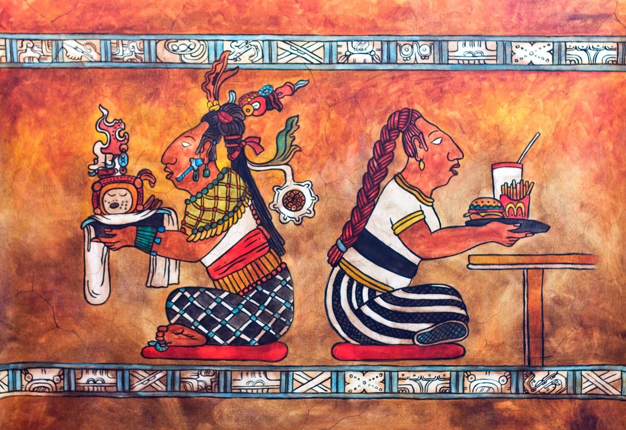 -Hanal- La comida. Das Essen.  90 x 60 cm. 2013. Mischtechnik auf Leinwand