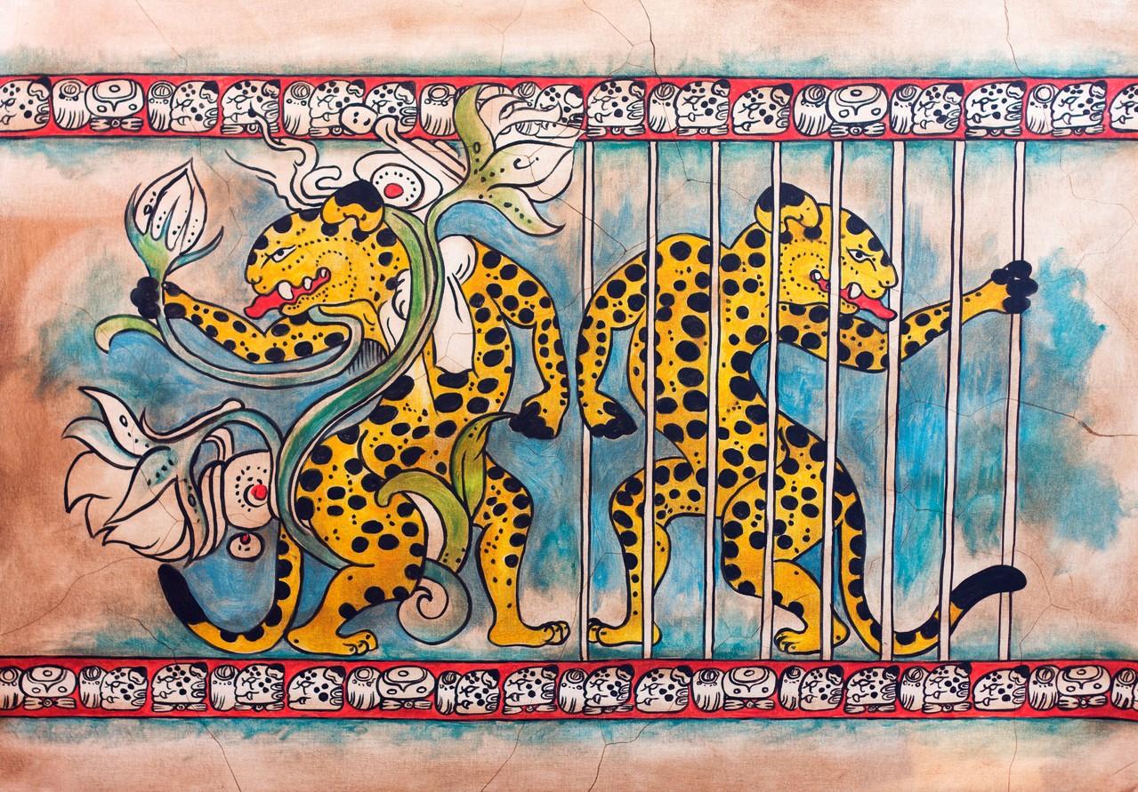 -Balam- El jaguar guardián. Die Jaguar als Wächter. 90 x 60 cm. 2013. Mischtechnik auf Leinwand