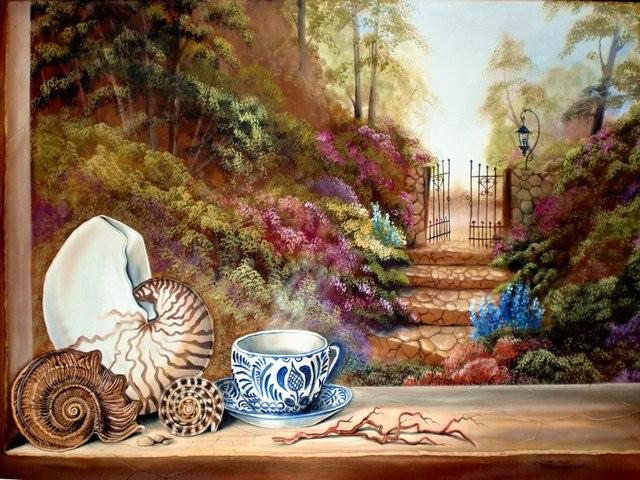 """""""Té y Caracoles, 2011"""" 50 x 70 cm."""