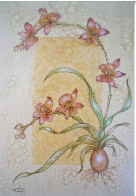 """Flores, 2005"" Acuarela y café. 40 50 cm."