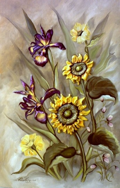 """Iris y Girasoles, 2007"" 30 x 45 cm."
