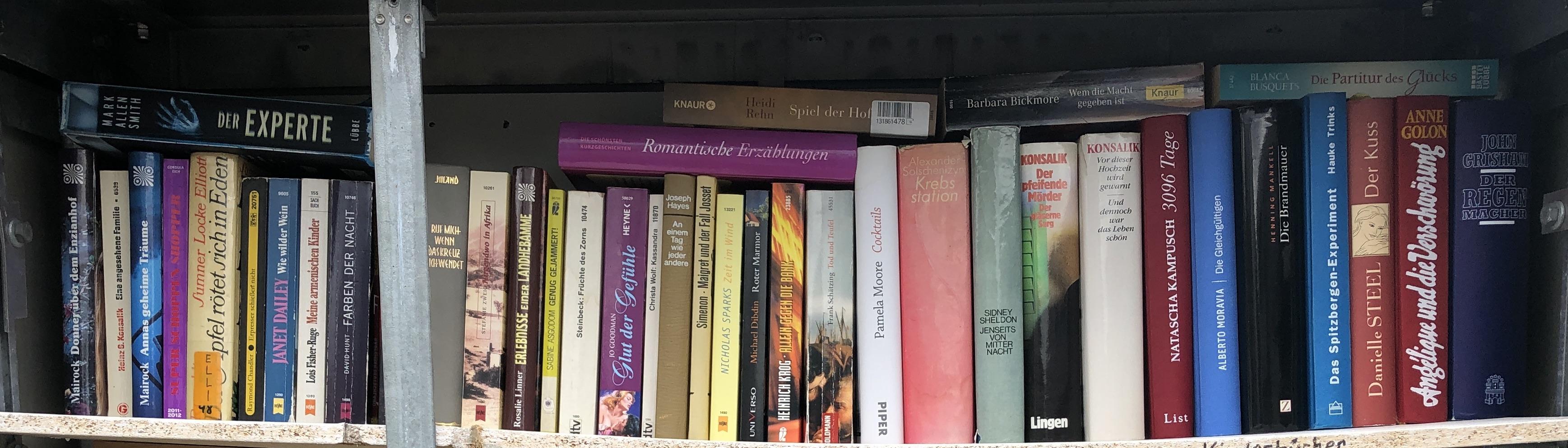 Bücherschrank innen, Bücher oberste Reihe