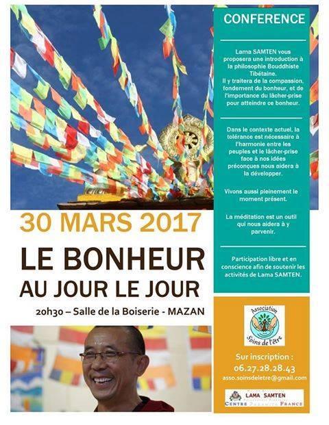 Conférence Le Bonheur au Jour le Jour - Association Soins de l'Etre - MAZAN