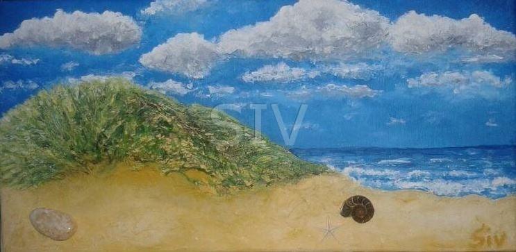 Meerblick, 20x40 cm, Acryl, Wasserachat, Ammonit und Seestern auf Leinwand