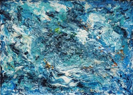 ohne Titel (blau/weiß), 25x35 cm, Acryl auf Hartfaserplatte im Rahmen