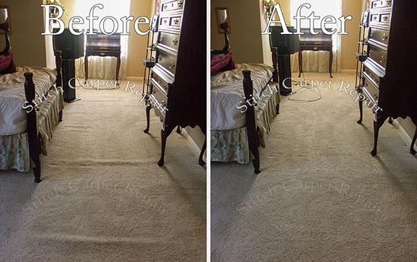 Carpet stretching in the master bedroom Austin Round Rock Cedar Park Manor Bee Cave San Marcos