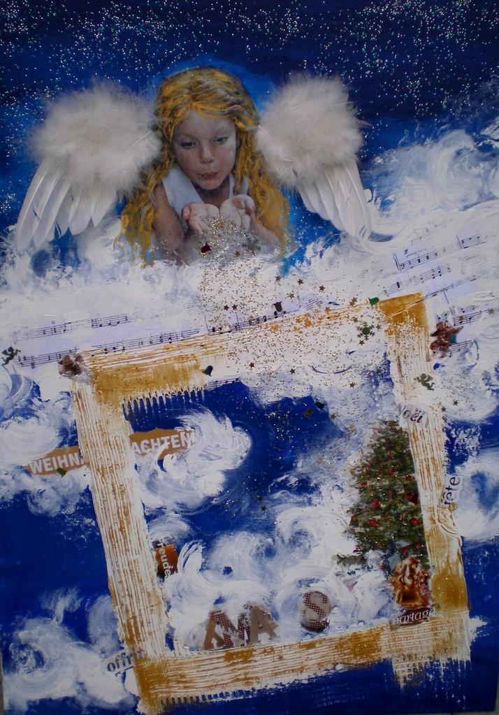 50 x 70, Leinwand, Acryl Mischtechnik mit Collage, geklebte Engelflügeln