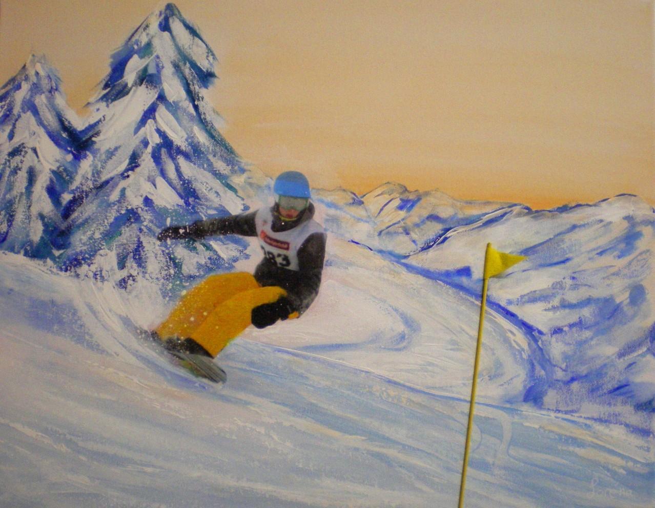 40 x 50, Leinwand, Acryl Mischtechnik mit Collage, geklebte Fahne
