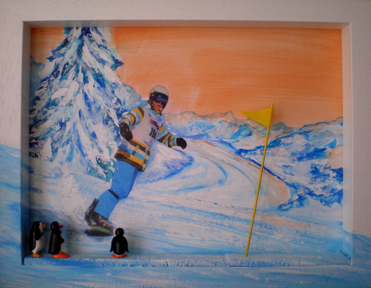 35 x 45, Acryl auf Karton, Mischtechnik mit Collage, Rahmen in Relief, geklebte Pinguinen