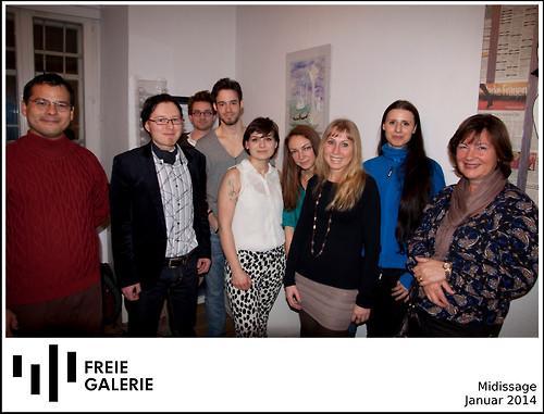 MaLo (2. v. links) mit weiteren Auststellerinnen und Ausstellern in der Freien Galerie Graz
