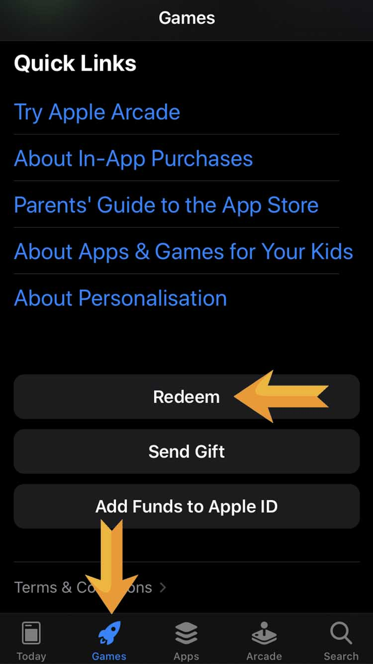 2. Choose Games at the bottom menu ans scroll down to the end. Press «Redeem»