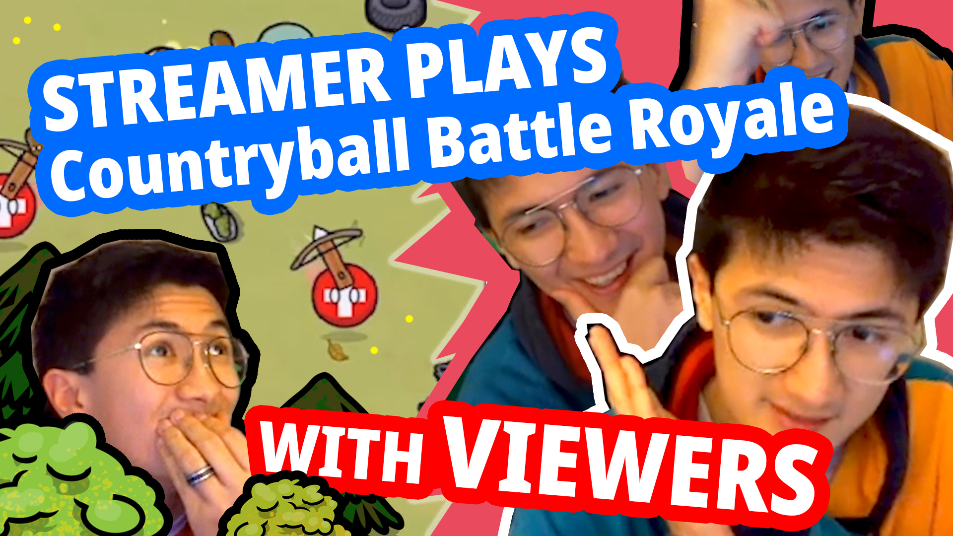 Funny Twitch Streamer plays Countryball (Battle Royale) mobile game with viewers [2021]