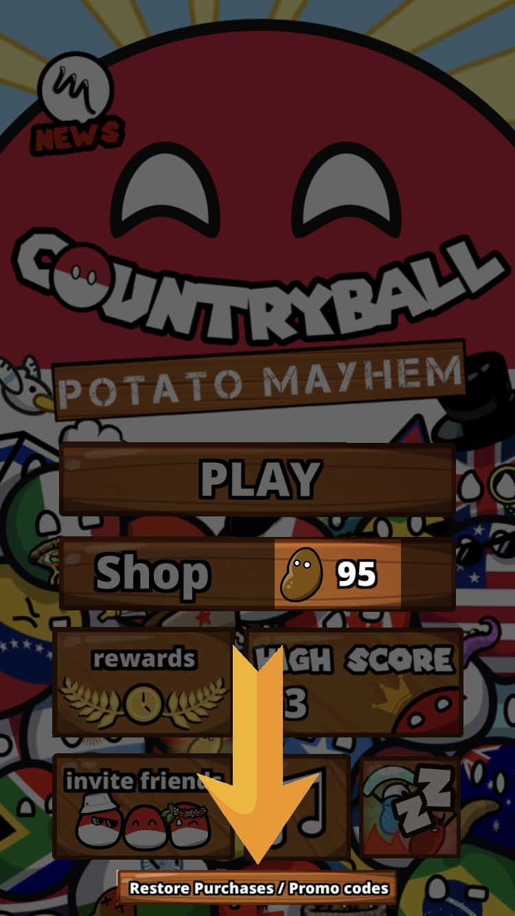 9. You see I have 95 Potatoes - Click on the «Promo Codes» Button an the very bottom and wait...