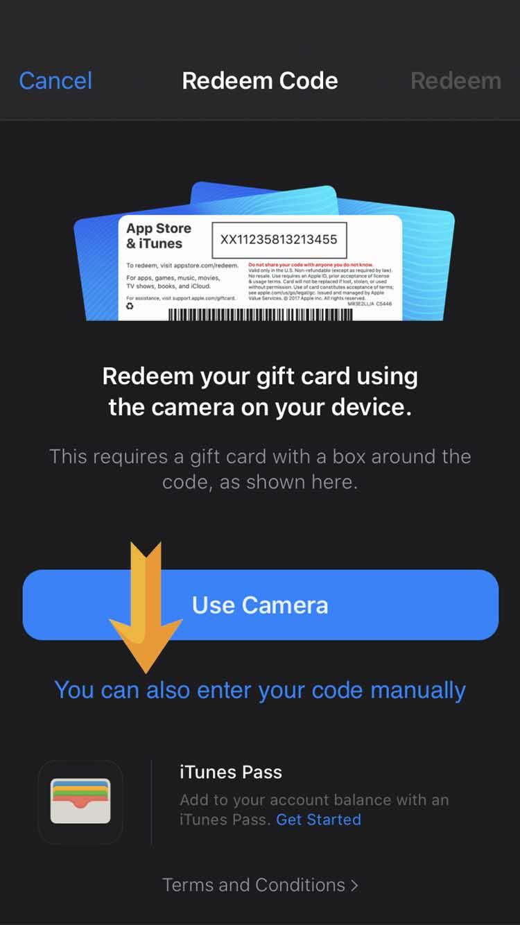 3. Click on «enter code manually»