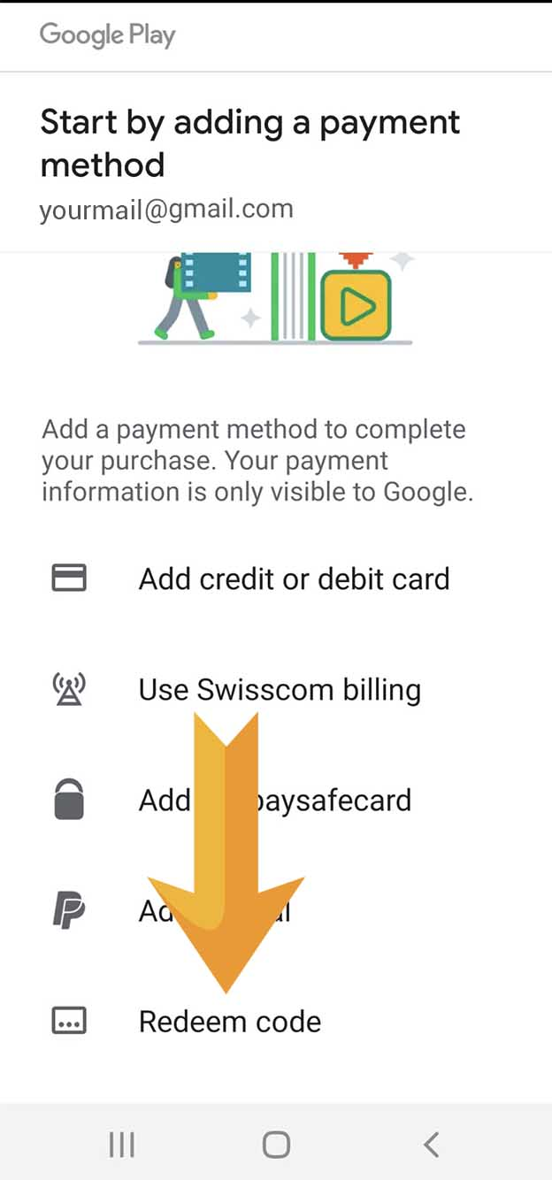 4. When it comes to payment scroll down and choose «Redeem code»