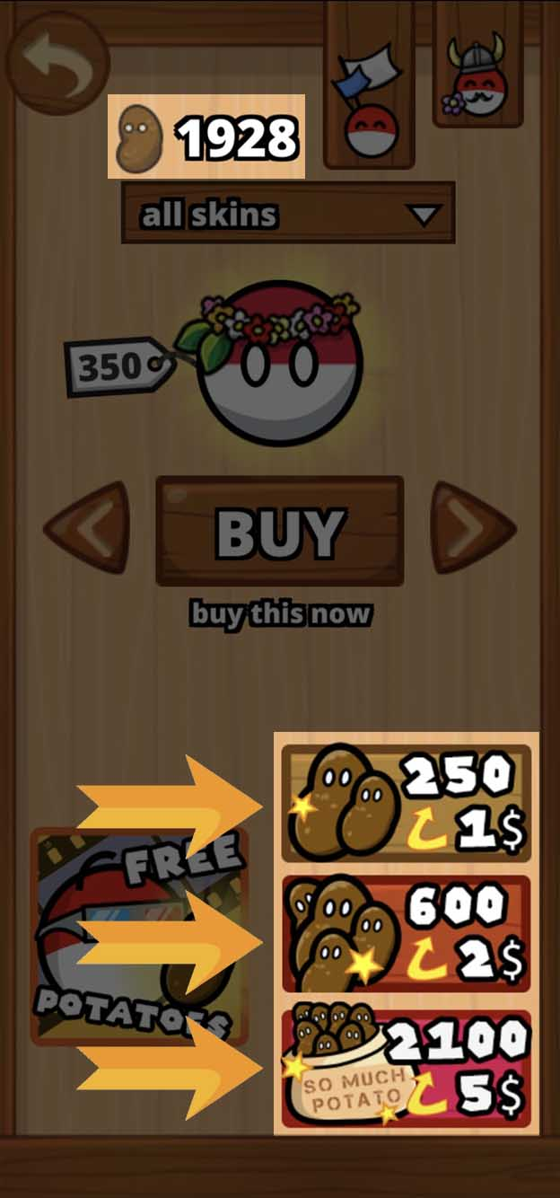 3. You can see I have 1920 Potatoes. Now select the correct In-App-Purchase you have the promo code for