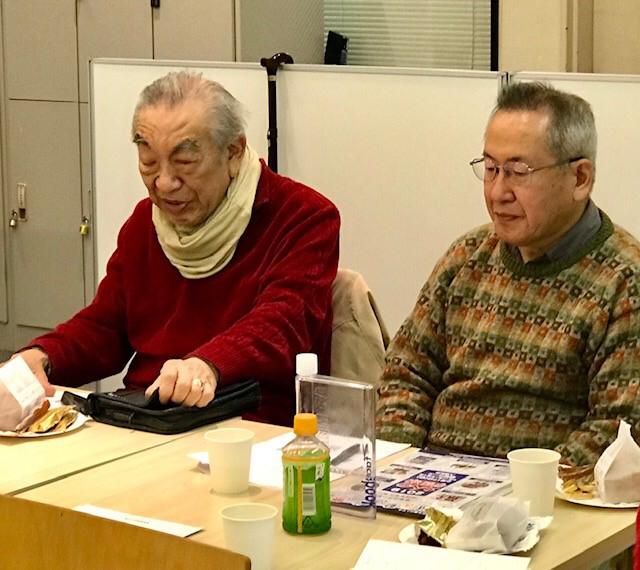 ☆左側は顧問の小林巽(ゆずる)さん(初代代表理事)。体調不良の中でのご参加、ありがとうございます。右側は理事の石井隆さん。