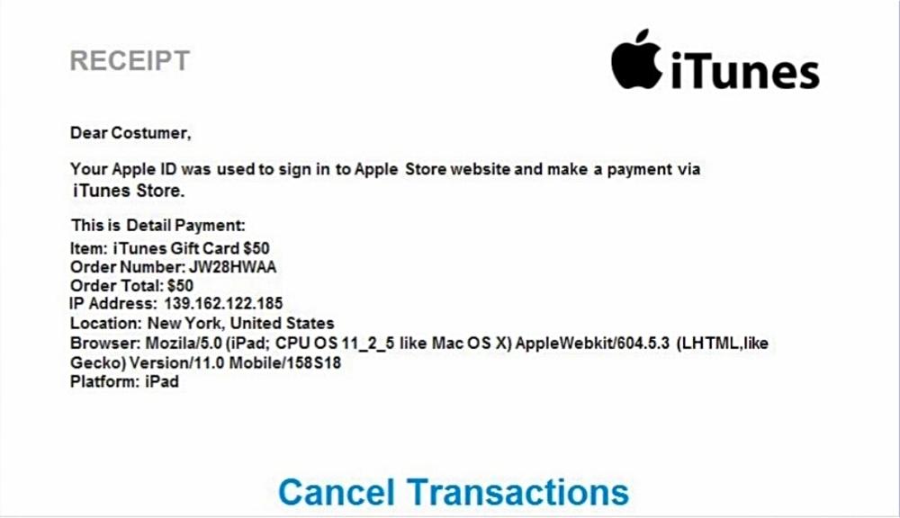 ☆もっともらしい領収書。注文番号、IPアドレスなどが記載され50ドルの請求。ニューヨークで使用と。